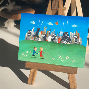 Couple in Chicago painting | romantic mini  cityscape |