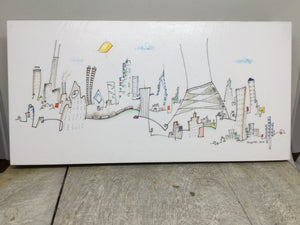 SOLD. Chicago skyline drawing | wall decor | whimsical art | CTA train