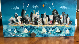 6x12 hand painted Chicago skyline | whimsical cityscape | sailing wall art