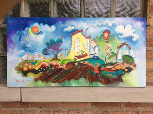 SOLD Wheelbarrow Ride | sold smigielski painting