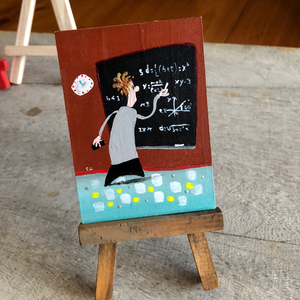 Teacher mini painting  | math professor | miniature easel  art