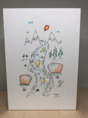 bears in woods art |whimsical line drawing | children room decor