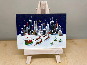 mini Chicago Christmas art | santa cityscape skyline | affordable original art | holiday decor