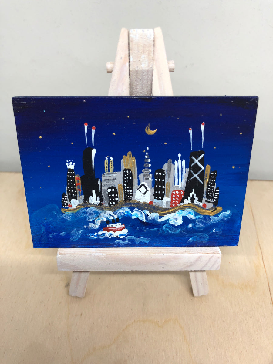 mini painting of chicago nighttime | dark blue night sky | miniature moon architecture