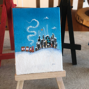 Chicago Winter mini painting |  Snowy skyline scene  | Train in the snow