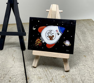 Mini painting of dogs in rocket ship | space pup painting | miniature easel  shelf art