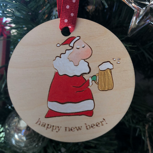Santa Beer Ornament | gift for beer lover |. Christmas brew drinking decoration