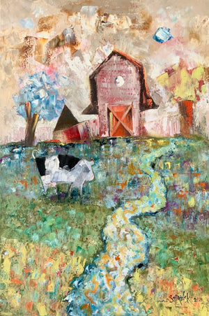 Oil painting of cow and barn | vertical blue farm scene | barnyard kitchen wall art