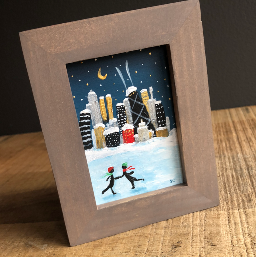 Couple skating in Chicago mini painting | Love Chicago art | skyline holiday decor | romantic Chicago gift