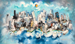 a sold painting of the chicago skyline by artist joe smigielski featuring the city floating in clouds