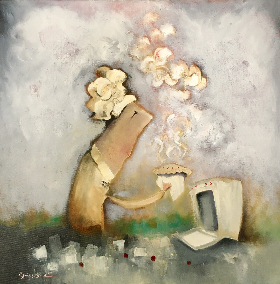 oil painting of chef removing steaming pie from an oven.  An original 24x24 kitchen decor by joe Smigielski