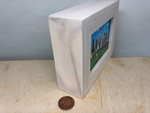 chicago dog art | tiny skyline painting | mini easel shelf display |