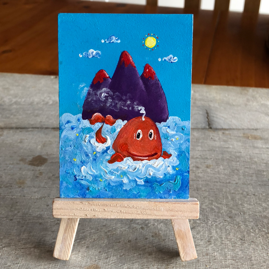whale mini painting  | whimsical oceanmountain scene | miniature easel  art