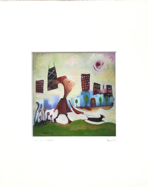 girl and dog Chicago print | woman walking chihuahua cityscape | green downtown art | whimsical buildings | red coat