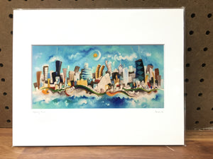 4x8 horizontal Chicago skyline print | blue skyline art | whimsical wall art
