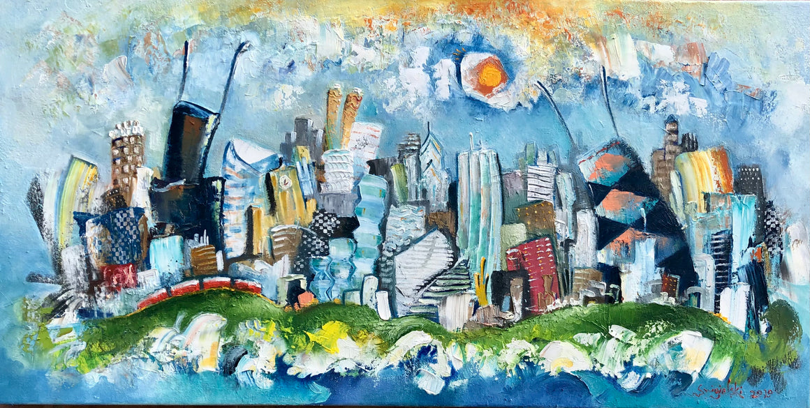 Chicago skyline oil painting | 18x36 cityscape  | CTA wall art