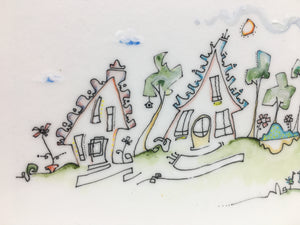 4x8 Drawing of whimsical houses | line art | neighborhood picture  | hand drawn original