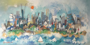 Chicago(SOLD) skyline painting | horizontal wall art | cityscape