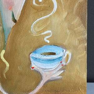 Vertical painting of a woman drinking coffee by Joe Smigielski | kitchen and dining decor | Comfort Break