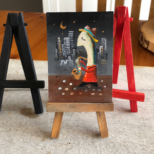 saxophone player miniature art |  gift for music  lover | small jazz blues decor