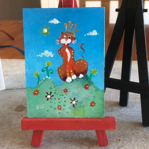 Cat mini painting |  gift for Cat lover | Spoiled  kitty