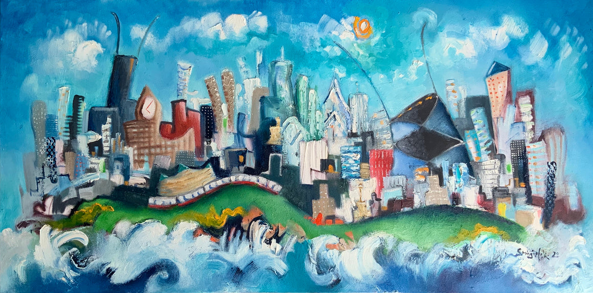 SOLD | Chicago skyline oil painting | cityscape original wall art | whimsical landmarks