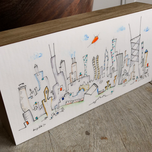 4x8 Chicago line drawing |  whimsical cityscape