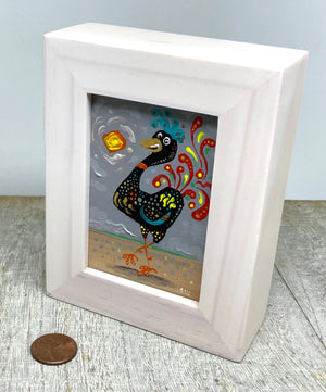 Rooster mini painting  | whimsical kitchen  art | miniature chicken picture |  small kitchen decor