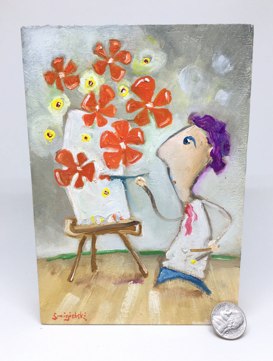 painting of artist at easel | red flower artwork | original art