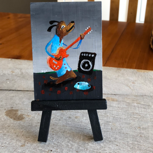 Guitar dog mini painting  | gift for musician | miniature easel  shelf art | gift for dog lover