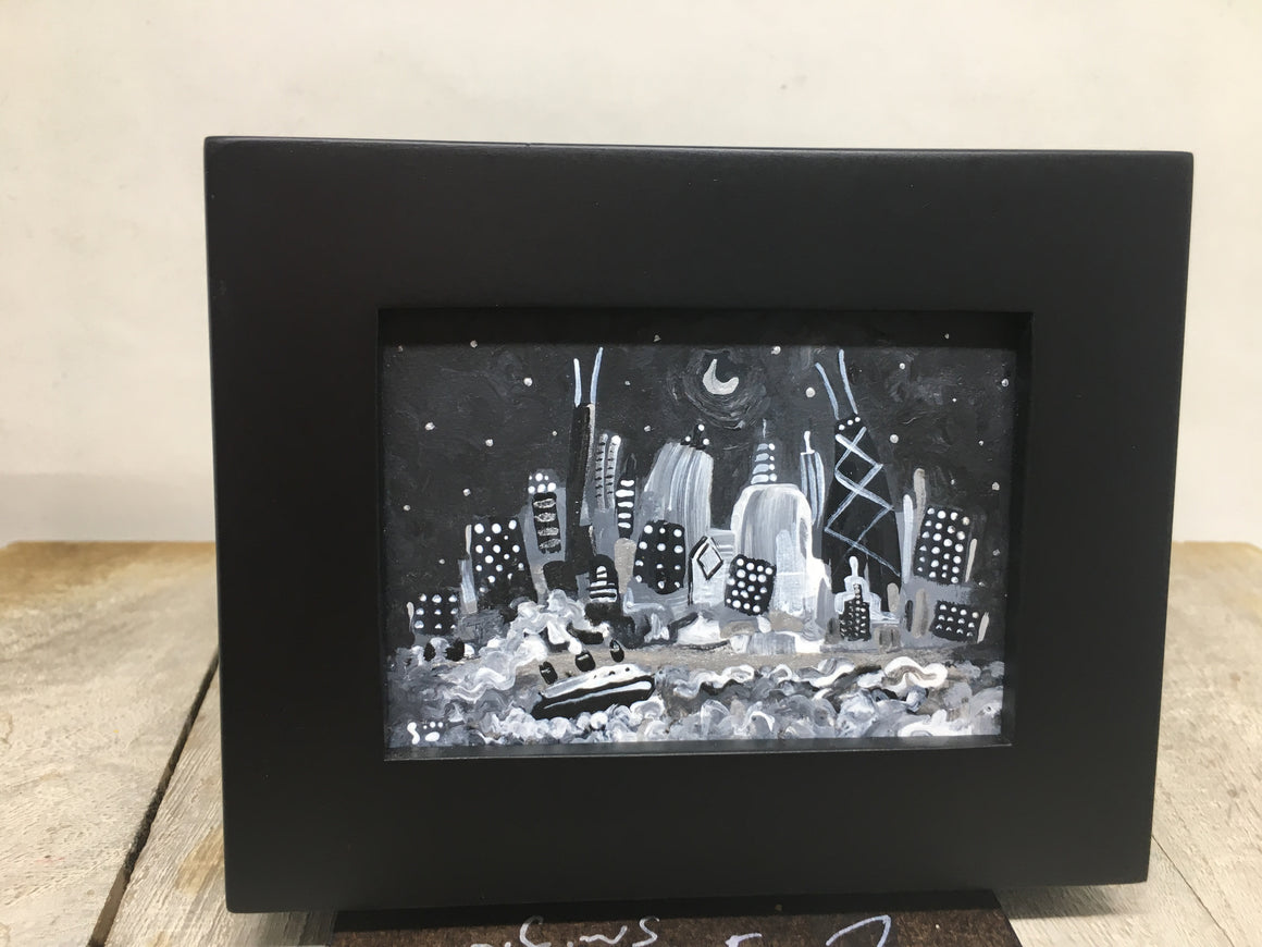 Black and white miniature painting of Chicago | tiny night skyline easel art | mini wall art