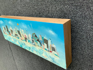 6x18 Chicago skyline oil painting | horizontal cityscape wall art | iconic blue architecture