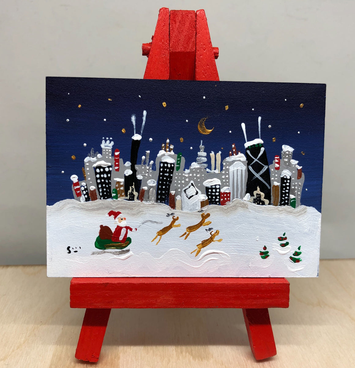 It's Christmas in Chicago in this mini painting by Joe Smigielski | Chicago Delivery