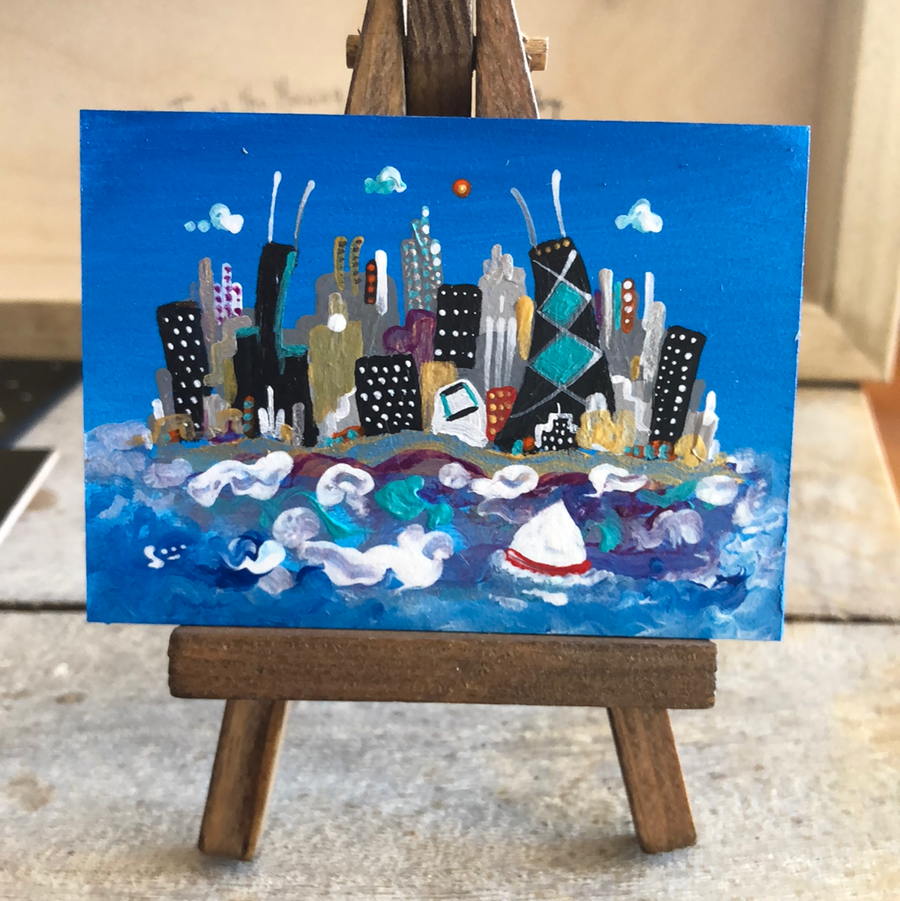 chicago skyline mini painting |  | miniature sailing cityscape