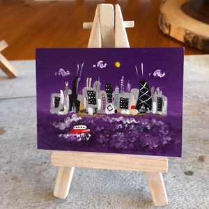 Northwestern Wildcat  gift | purple mini Chicago skyline painting | Evanston pride