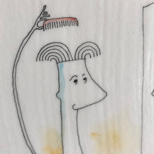 Drawing of man combing hair | guy looking in mirror | hairdo illustration