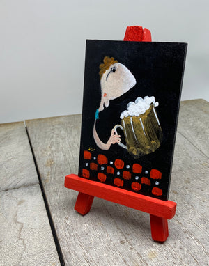 Beer guy mini painting | miniature art of brew man | man cave decor