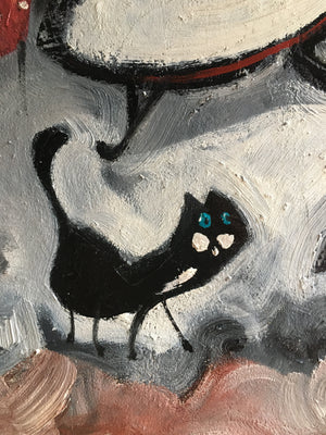 Tuxedo cat jazz musician painting | square original wall art