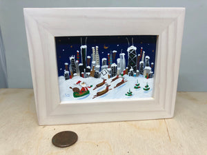 Santa in Chicago | mini painting by Joe Smigielski | Chicago Delivery
