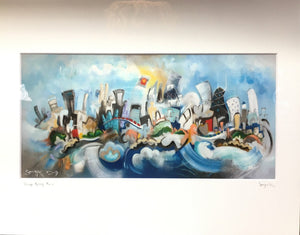 Chicago cityscape print | musical architecture depiction | horizontal matted art