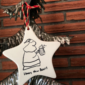 Ceramic Santa Beer Ornament | Christmas decoration