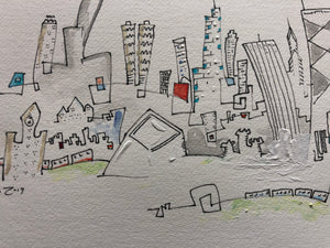 Matted  Chicago drawing | hand drawn skyline | CTA train wall art