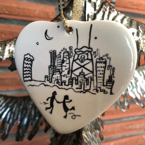 Ceramic Chicago Ornament | couple skating  Christmas decoration
