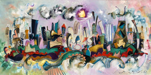 24x48 Chicago skyline | music band  oil painting | colorful cityscape | abstract whimsical Chicago  wall art | violet jazz musician