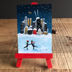 Couple skating in Chicago mini painting | Winter skyline