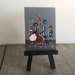 mini cat band painting | three tuxedo cats | miniature jazz music art |