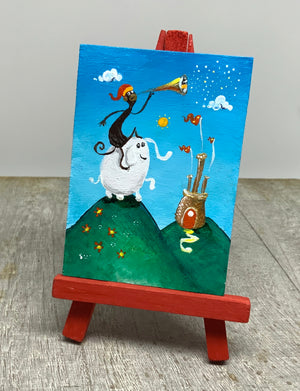 Elephant mini painting  | whimsical monkey  art | miniature easel  shelf display |  baby gift