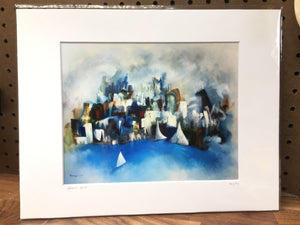 Top seller | 8x10 abstract blue Chicago  matted print | sailboat skyline wall art | city decor