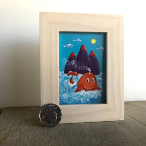 tiny painting of whale | mini art on easel | miniature art in frame