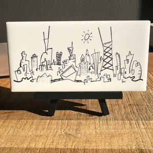 2x6 tile Chicago skyline | miniature cityscape art | whimsical architecture